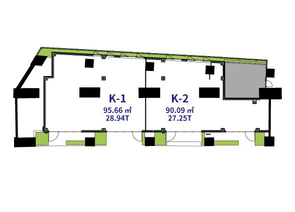 K-1(95.66㎡/28.94T) / K-2(90.09㎡/27.25T)図面