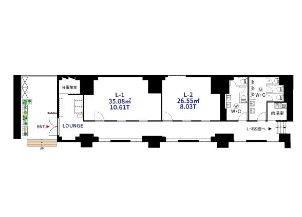 L-1(35.08㎡/10.61T)、L-2(26.55㎡/8.12T)図面